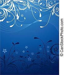 синий, цветочный, задний план