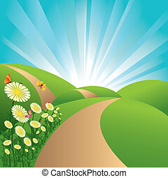 синий, цветы, небо, butterflies, поля, пейзаж, зеленый, весна