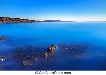 синий, чисто, небо, бухта, океан, погруженный, rocks, пляж, закат солнца