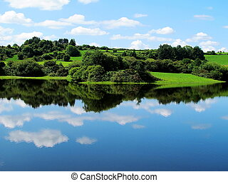 синий, чисто, небо, леса, воды, зеленый, reflections, ирландия, луга