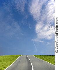 синий, широкий, небо, дорога