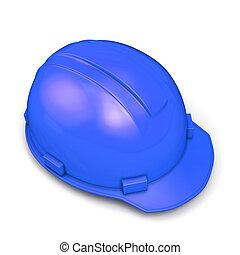 синий, шлем, строительство