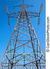 синий, электрический, мощность, небо, против, столб