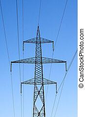 синий, электричество, небо, против, высокая, столб, напряжение