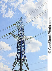 синий, электричество, небо, против, облачный, пилон