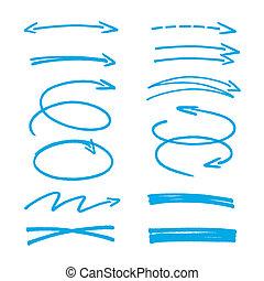 синий, эскиз, задавать, arrows