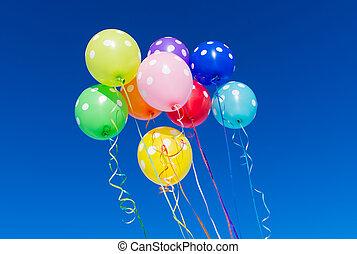 синий, balloons, небо, против