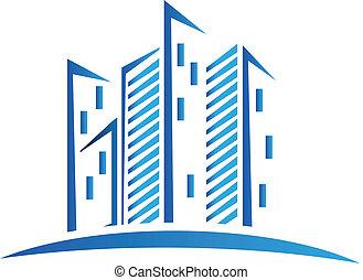 синий, buildings, логотип, современное
