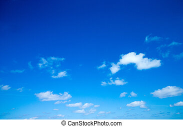синий, clouds, белый, небо
