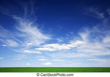 синий, clouds, весна, зеленый, поле, белый, skies