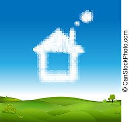 синий, clouds, дом, абстрактные, небо, зеленый, пейзаж