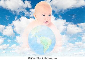 синий, clouds, коллаж, земной шар, небо, стакан, белый, детка, пушистый