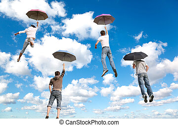 синий, clouds, коллаж, пушистый, летающий, небо, 4, за, белый, friends, umbrellas
