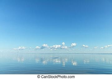 синий, clouds, легкий, над, небо, поверхность, белый, река