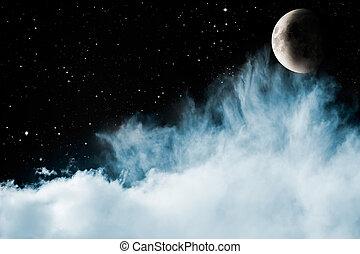 синий, clouds, луна