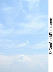 синий, clouds, небо, легкий