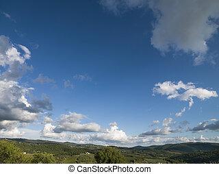 синий, clouds, небо, серый, тосканский, пейзаж