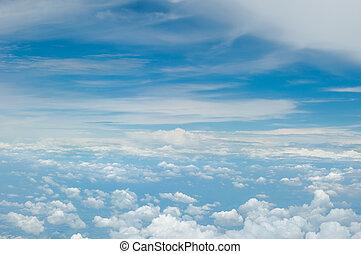 синий, clouds, пушистый, небо, задний план, белый