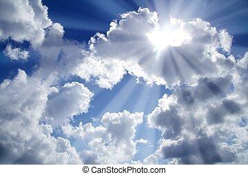 синий, clouds, beams, небо, легкий, белый