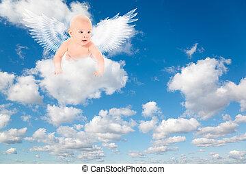 синий, clouds, sky., пушистый, clouds., задний план, белый