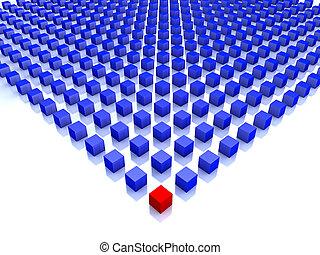 синий, cubes, один, поле, угол, красный