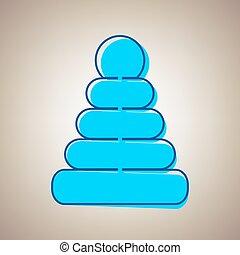 синий, defected, пирамида, illustration., небо, знак, background., бежевый, vector., contour, значок