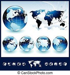 синий, globes, мир, карта