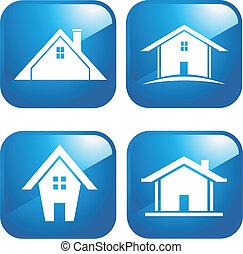 синий, houses, значок