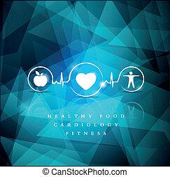 синий, icons, яркий, здоровье, задний план, геометрический