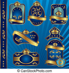 синий, labeles, королевский, blanck