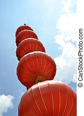 синий, lanterns, небо, красный, против