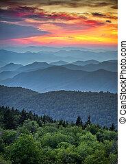синий, mountains, великий, хребет, layers, сценический, национальный, парк, закат солнца, ridges, аппалачи, дымчатый, автострада, над, пейзаж