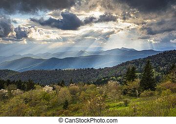 синий, mountains, вечер, север, аппалачи, фотография, nc, asheville, закат солнца, пейзаж, хребет, автострада, южная каролина