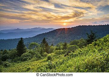 синий, mountains, хребет, сценический, закат солнца, cowee, западный, север, автострада, пейзаж, каролина