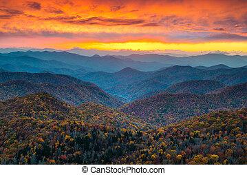 синий, mountains, хребет, сценический, закат солнца, landsc, север, автострада, каролина