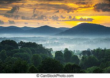 синий, mountains, хребет, фотография, nc, asheville, туман, закат солнца, западный, север, автострада, пейзаж, каролина