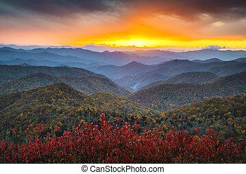 синий, mountains, nc, хребет, аппалачи, место назначения, отпуск, осень, закат солнца, западный, сценический, автострада, пейзаж