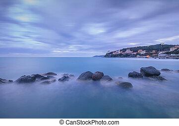 синий, rocks, италия, castiglioncello, океан, темно, twilight.