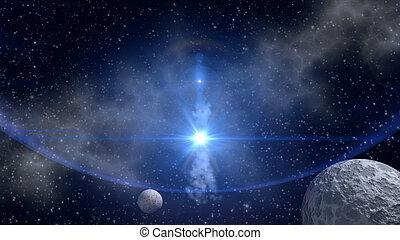 синий, sci-fi, задний план, звезда