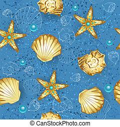 синий, seashells, бесшовный, золото