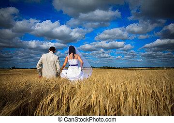 синий, simbolizing, пара, рожь, небо, против, поле, свадьба, фертильность
