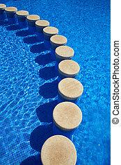 синий, tiles, текстура, воды, бассейн, плавание