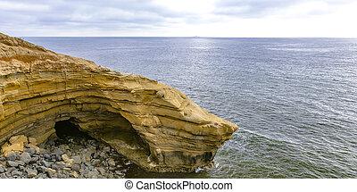 скалистый, тихий океан, край, закат солнца, cliffs