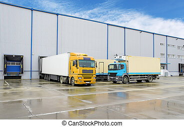 склад, грузовой, -, грузовая машина, транспорт
