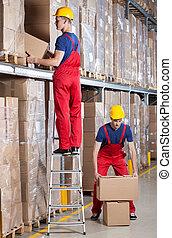 склад, человек, за работой, высота