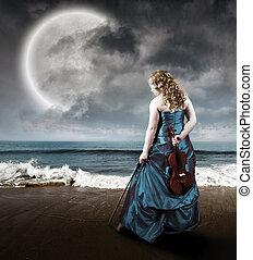 скрипка, пляж