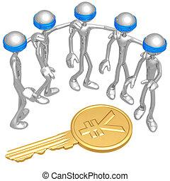 слепой, монета, ключ, иена