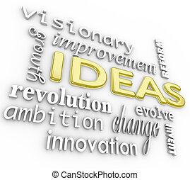 слово, задний план, -, ideas, words, инновация, видение, 3d