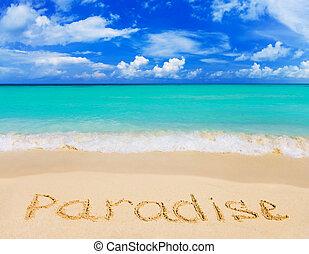 слово, пляж, рай