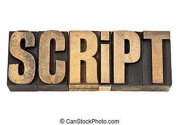 слово, типографской, скрипт, -, дерево, тип